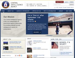 Dette er forsiden på CIAs hjemmeside