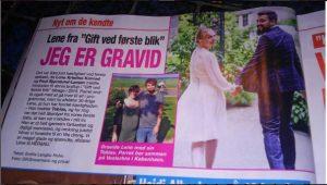 Skærmdump fra Her & Nu hvor nyheden om Lene Konrads graviditet fortælles i seneste nummer af Her & Nu
