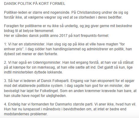 Skærmdump af Henrik Qvortrups FB-opdatering om dansk politik