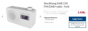 Skærmdump af prisen på en DAB radio fra Wupti