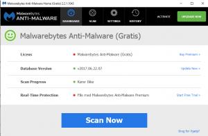 Skærmdump fra Malwarebytes Anti-Malware