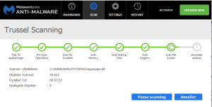 Skærmdump mens Malwarebytes Anti-Malware er i gang med en scanning