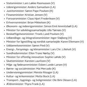 Her er ministerlisten for LLR3-regeringen