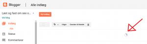 Skærmdump fra Blogger hvor Edge åbenbart IKKE kan indlæse indlæg på første side...