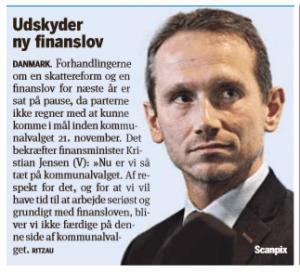 Billede fra MetroXPress om ny finanslov udskydes til efter valget