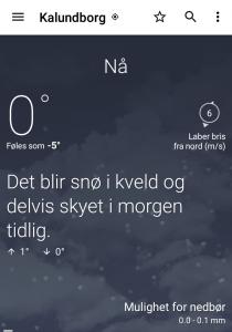 Yr-vejrappen melder om frost, 0 grader Celsius, altså 32 graders Fahrenheit her i Kalundborg